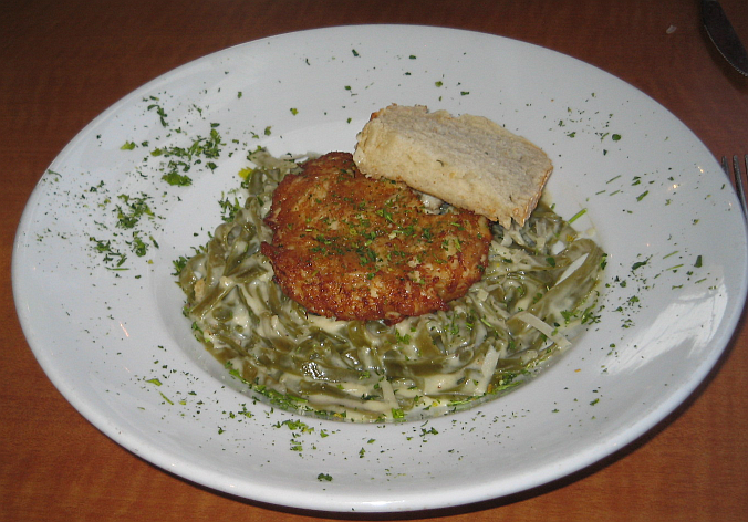 Crabcake on Spinach  Fettucc