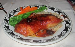 Roasted Half Duck with Sundried Cherry Merlot Sauce