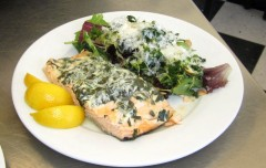 Salmon with Spinach Butter and Kale Salad