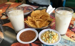 Horchata, chips, Salsa, and Corn Crema
