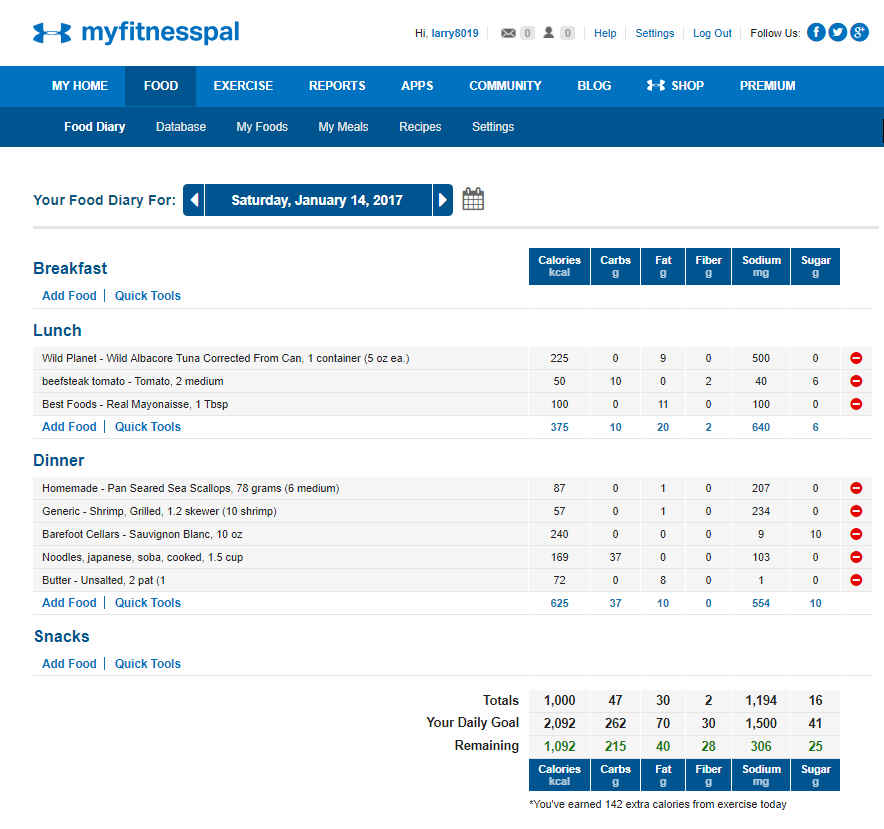 MyFitnessPal Sample Record