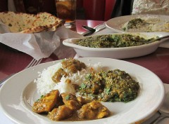 Green Chile Chicken Curry, Basmati Rice, ans Lamb Saag.