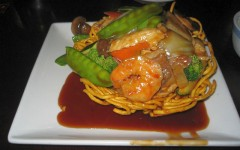 House Pan Fried Noodle with Shrimp, Chicken, and Beef