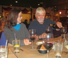 Bob Chase pouring some Zin for his sweet sister, Barbara