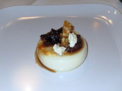 Dolce Tomma Della Rocca Panna Cotta with Fig compote and Hazelnut Brittle